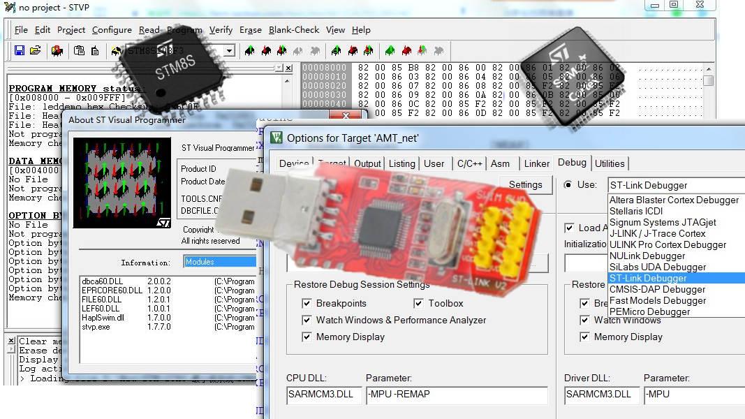 Электронные наборы для пайки : ST-LINK v2 программатор STM8 STM32